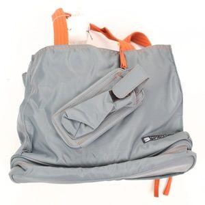 belly basics gray orange The Mommy Tote diaper bag